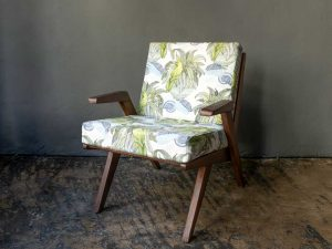 Vintage Original Wooden Armchair With New Tropical-Jungle Fabric, '60s