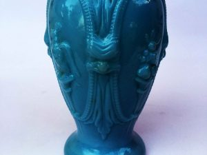 Vintage Opaline Blue Glass Vase With Birds And Gorgoyles !!!