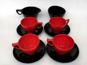 Retro Red & Black Coffee Tea Melamine Set From Melaware
