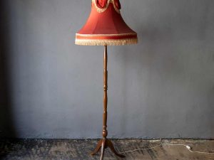 Vintage Wooden Floor Lamp With Red Shade