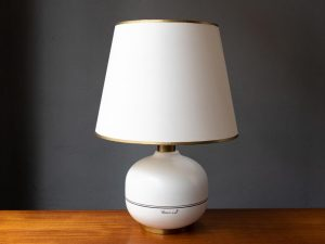 Vintage Mid Century White Ceramic Table Lamp, Signed