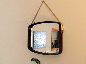 Vintage Κρεμαστός Καθρέπτης Από Ξύλο Τίκ '60ς Δανέζικου Design