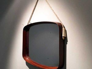 Danish Design Vintage MId Century Teak Wood Wall Mirror '60s