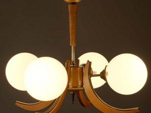 Mid Century Hanging Light With Four Glass Globes Scandinavian Design '60s