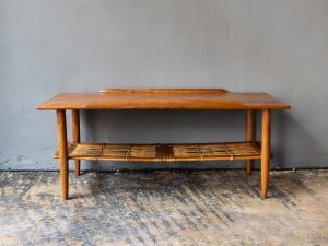 Mid Century Danish Design Coffee Table With Raised Edges And Rattan Shelf