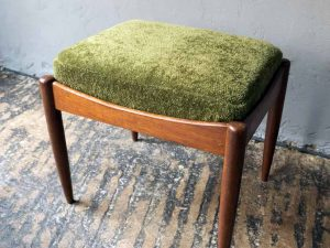 Vintage Danish Design Stool With Original Mid Century Upholstery '60ς