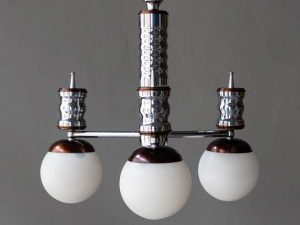 Mid Century Inox Hanging Light With 3 Globes Space Age '60s