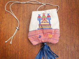 Χειροποίητη Τσάντα Πουγκί Από Γνήσιο Vintage Υφαντό Αργαλειού Με Δερμάτινα Στοιχεία Ref:Pg1