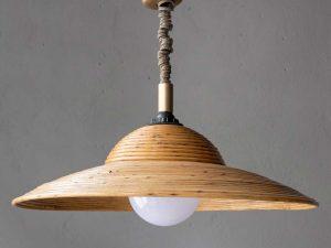 Vintage Rattan Adjustable Hanging Light Lamp '70s