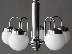 Space Age Mid Century Inox Hanging Light With 5 Globes '60s