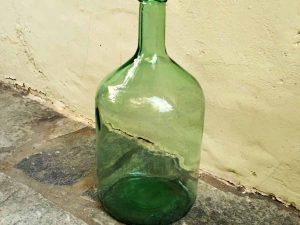 Vintage Green Glass Made Big Bottle, 34cm High Excellent For Decoration Ref:bt1