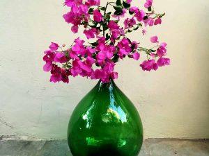 Vintage Italian Ambrosio Green Glass Made Dame-Jeanne Bottle, 54cm