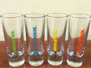 Vodka Absolut 4 Collectable Shot Glasses With City Names