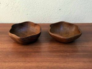 Vintage Pair of Teak Wooden Bowls