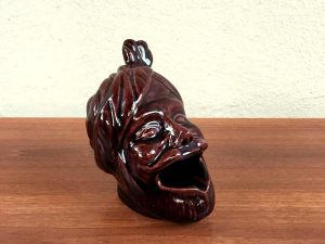 Vintage Ceramic Ashtray In the Shape of a Human Head