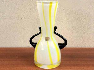Vintage Bohemian Mid Century Modern Yellow Vase, Chechoslovakia '60s