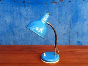 Vintage Mid Century Μπλε Μεταλλικό Φωτιστικό Γραφείου