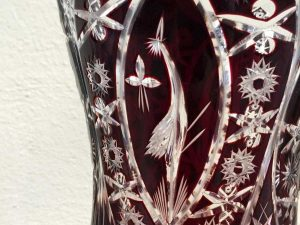 Vintage Bohemia  Cut to Clear Crystal Red Cranberry Ruby Vase '60s