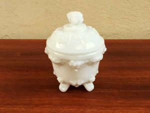 Small White Vintage Bowl Fountain Opaline From '60s
