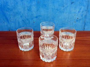 Τέσσερα Γυάλινα Mid Century Ποτήρια Whisky